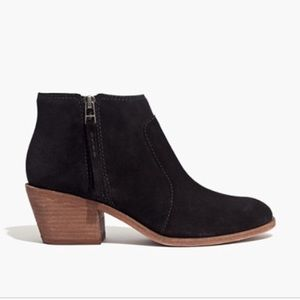 MADEWELL Black Suede Janice Ankle Booties 10